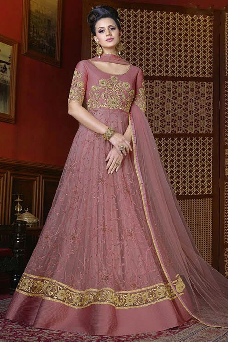 Blush pink heavy net embroidered traditional occasionally