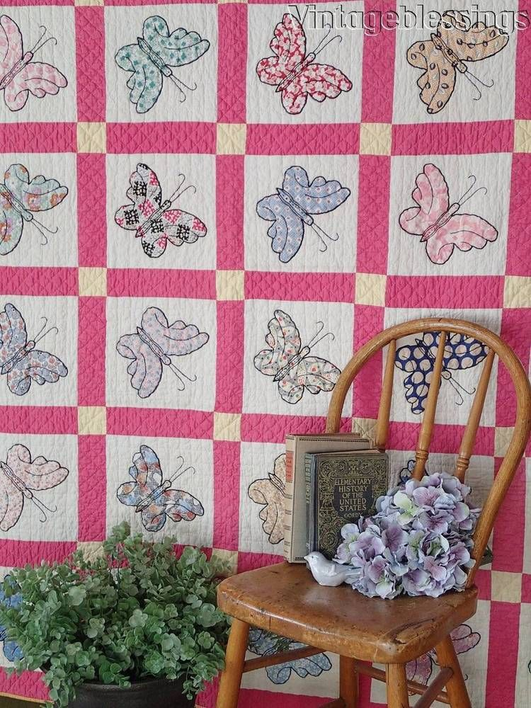 Outstanding! Gorgeous VINTAGE 30s Applique Butterflies QUILT 78x67 ...