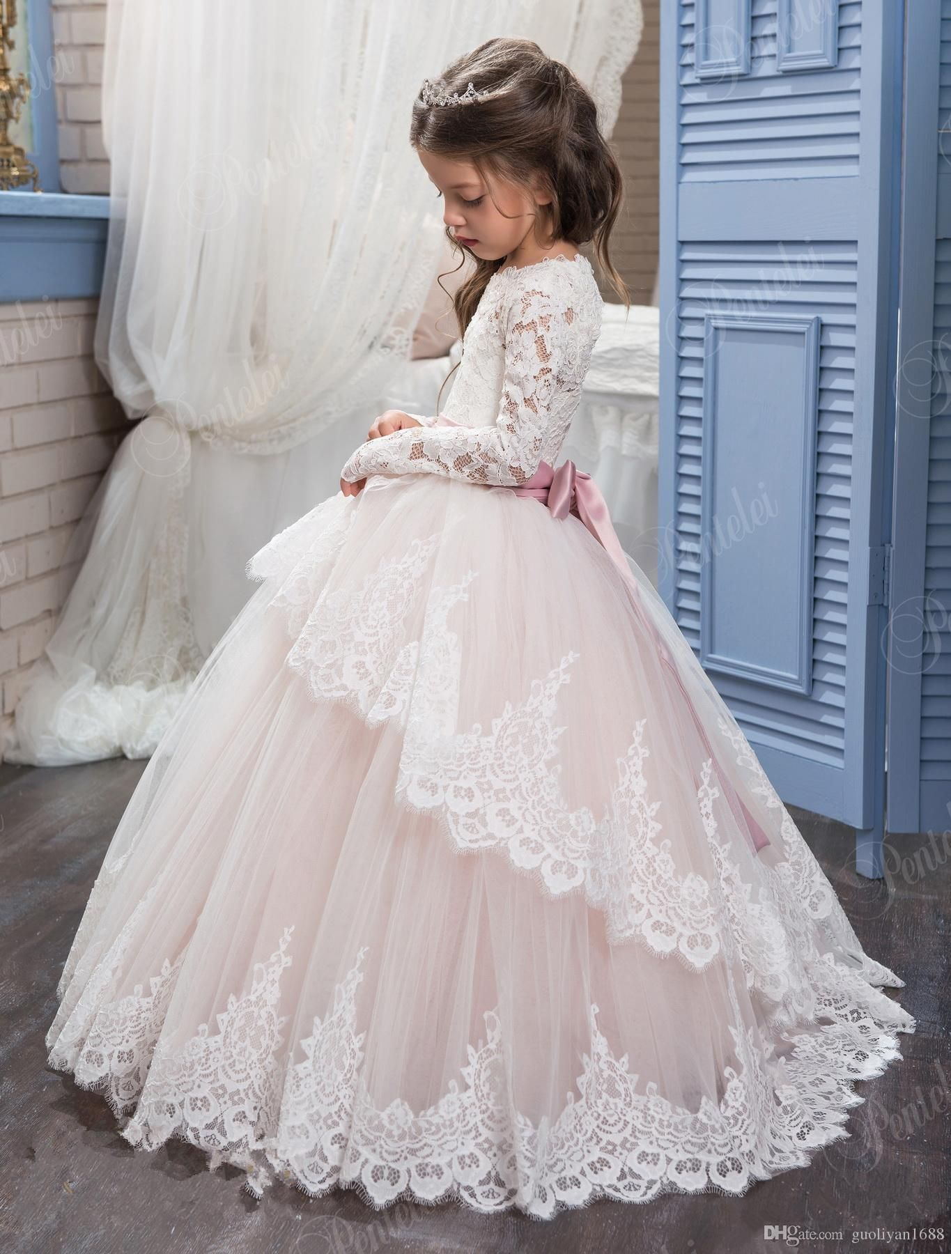 882796c7b05 2018 Lace Flower Girl Dresses for Weddings Blush Pink Long Sleeves Ball Gown  Princess First Communion Dress Child Party Formal Wear Gowns