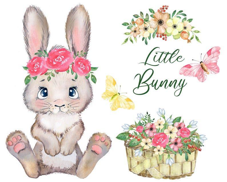 Bunny Watercolor Clipart Rabbit Clipart Easter Bunny Baby Bunny Clipart Bunny And Flower Clipart Wreath Rabbit Cute Nursery Png Bunny Watercolor Rabbit Clipart Rabbit Illustration