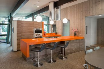 Mid Century/modern #kitchen Design With Orange Countertops, Wood Panel  Cabinets And