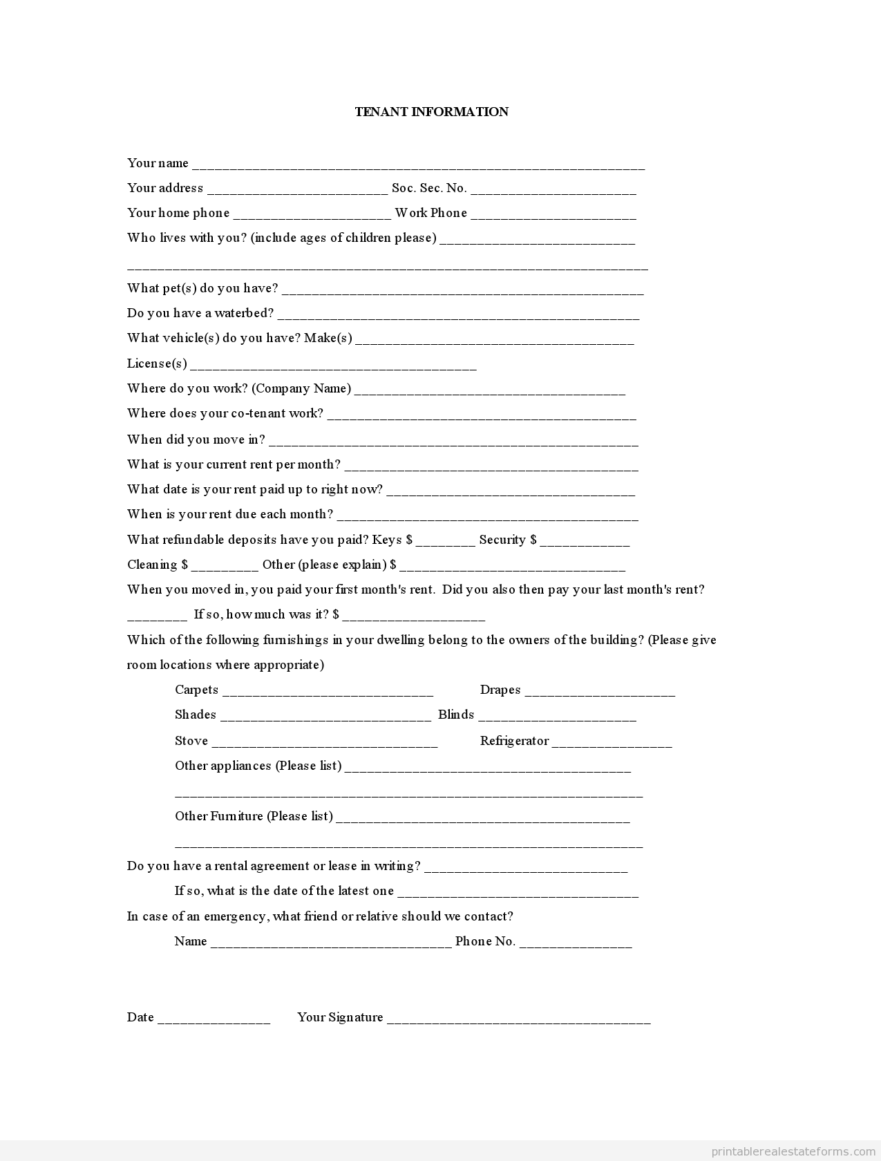 Printable Tenant Information Template 2015 Sample Forms