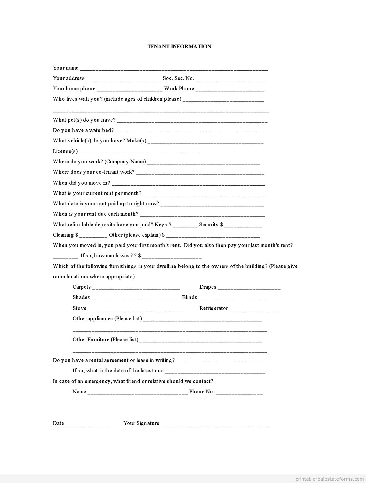 FREE Tenant Information FORM – Tenant Information Form