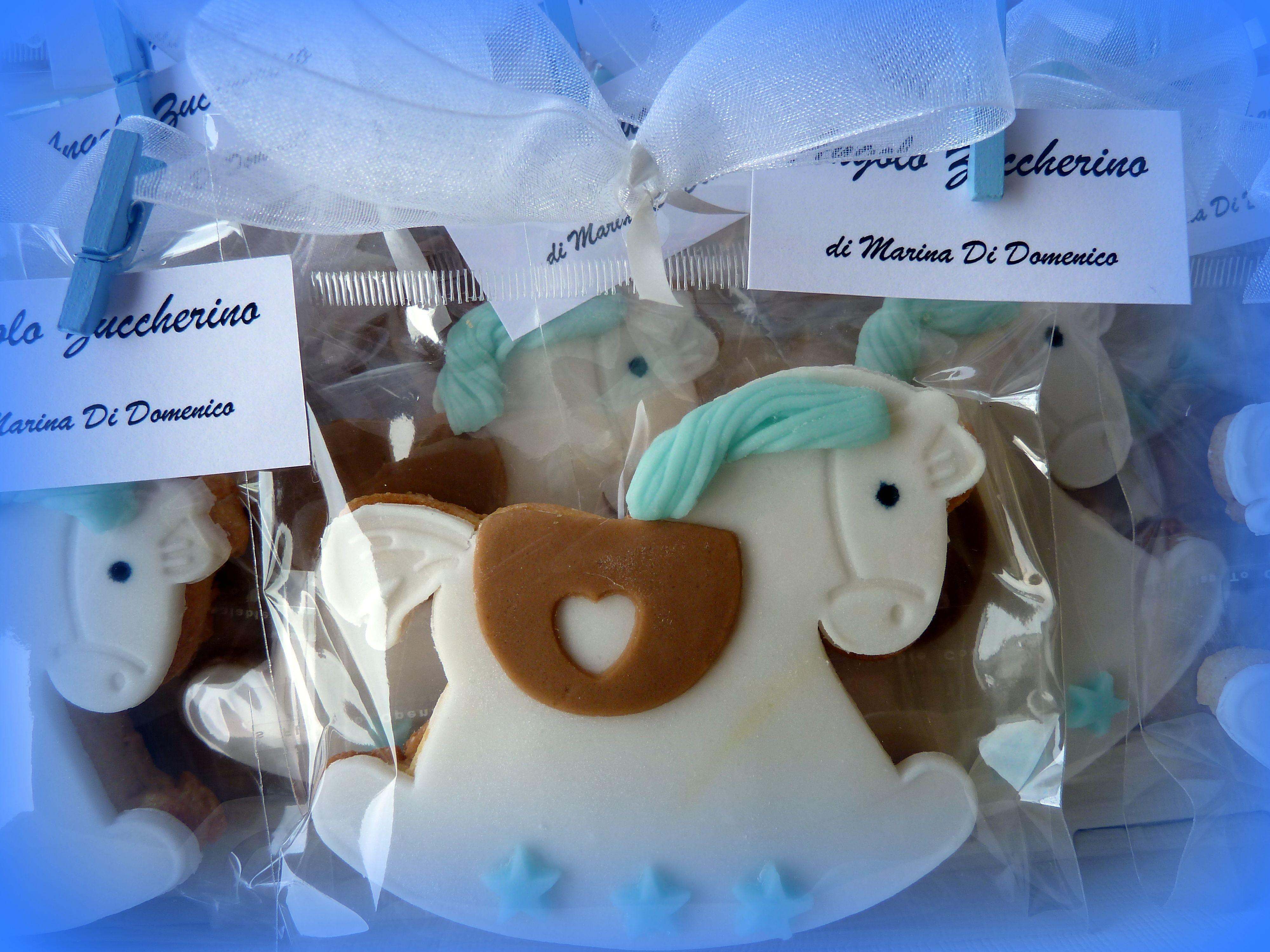 Biscotto cavallino a dondolo , segnaposto per battesimo