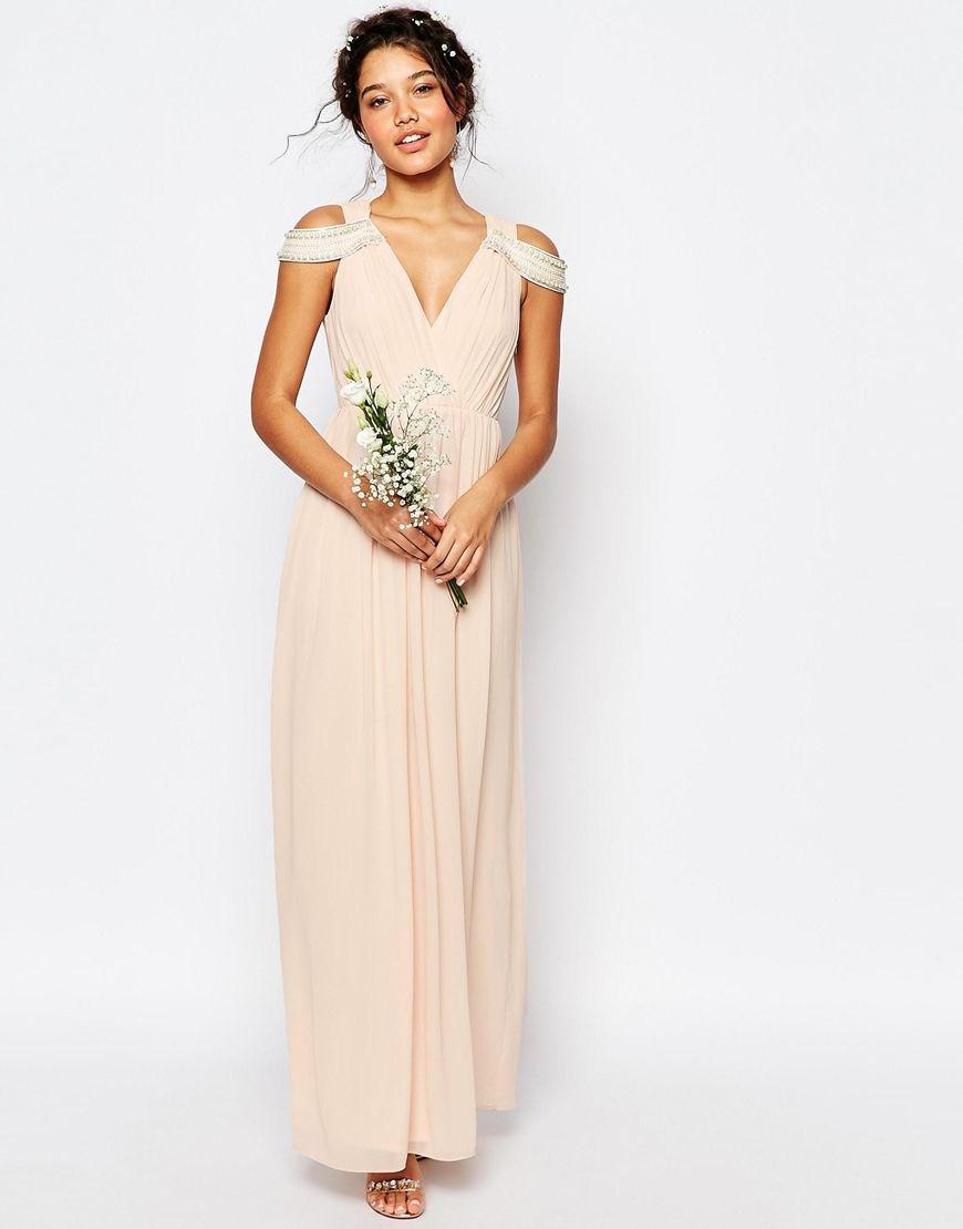 fc490854f218 Tfnc Wrap Front Maxi Bridesmaid Dress With Embellishment - raveitsafe