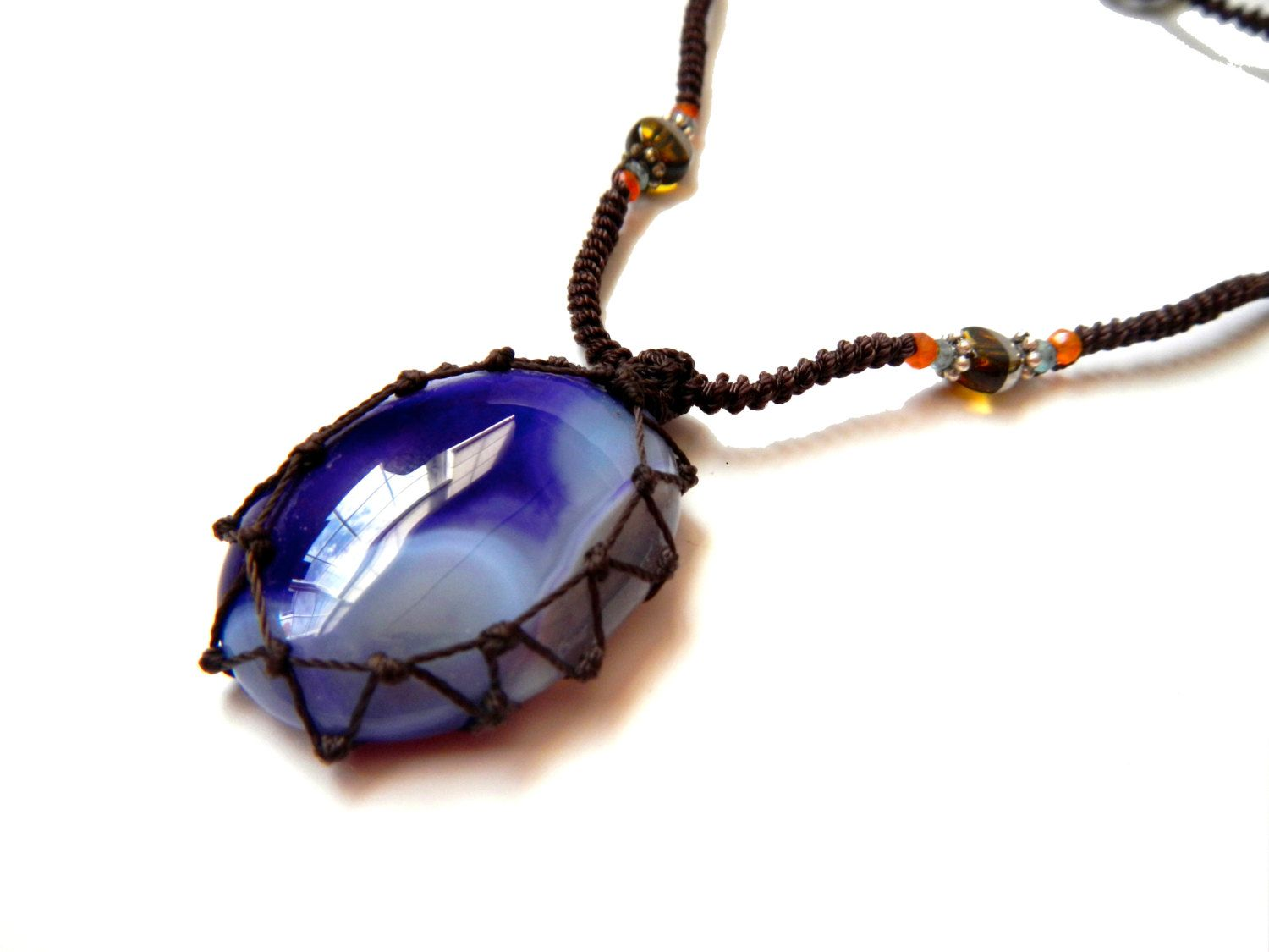 RESERVED for Mercedes - purpe agate macrame Necklace - Your Stone For Protection- Bohemian healing crystal. $38.00, via Etsy.