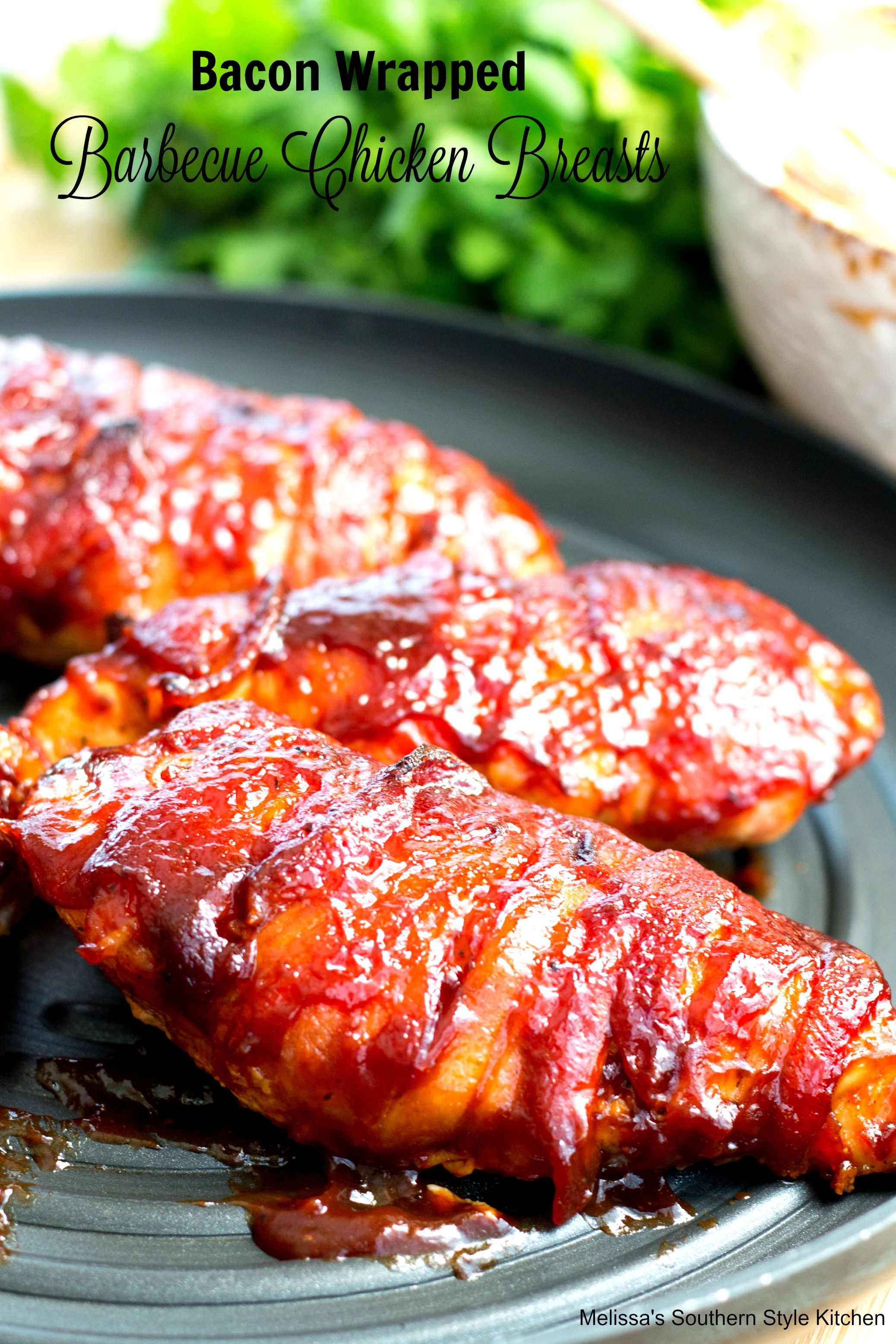 Barbecue bacon wrapped chicken breast