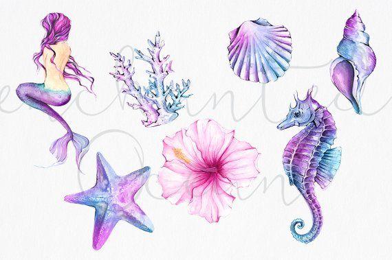 Meerjungfrau Clipart Aquarell Meer Unterwasser Illustration Seestern Sirene Muschel Seepferdchen DIY Packung Sommer Collage Blatt rosa lila blau #mermaid