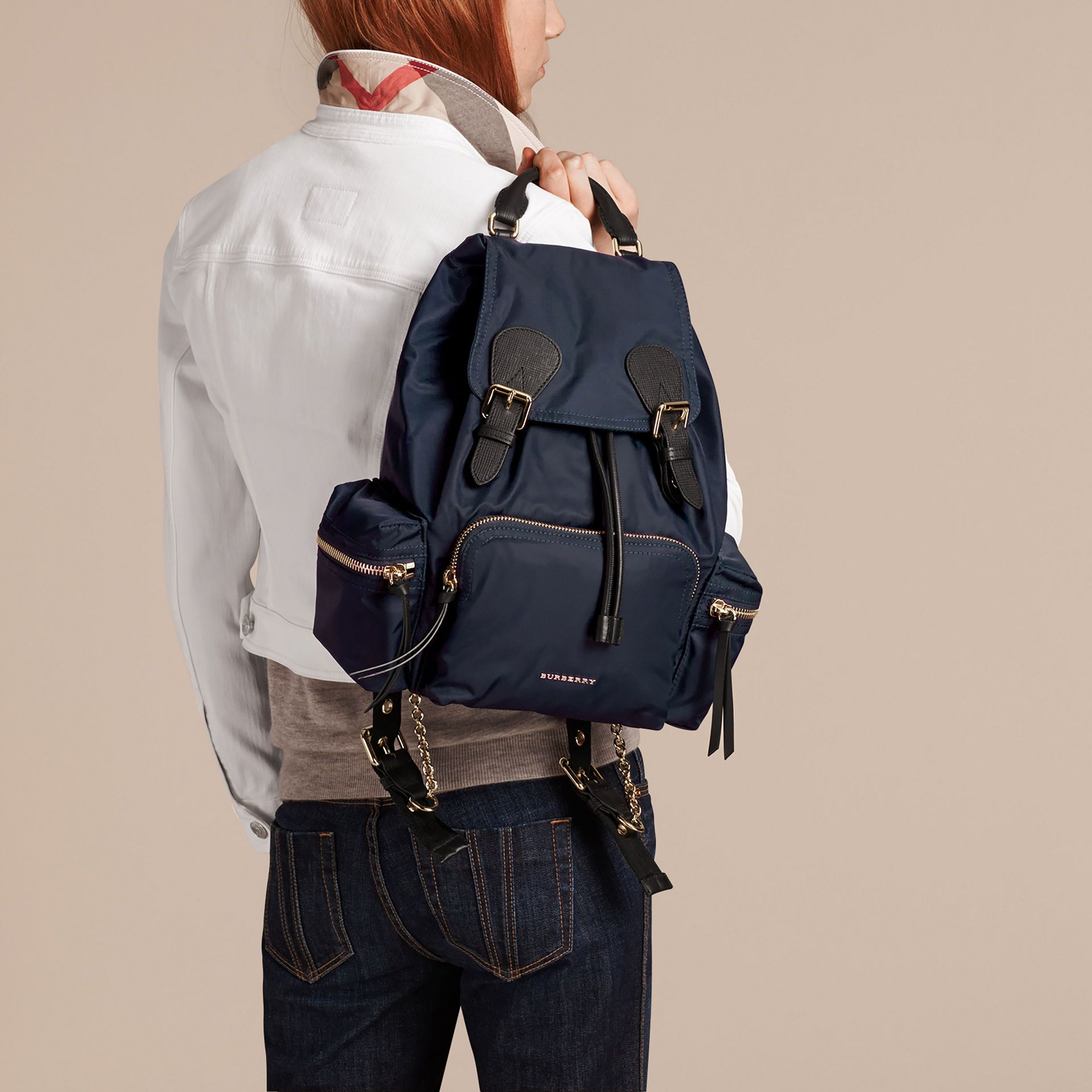 923fc5de9f0 The Medium Rucksack in Technical Nylon and Leather Ink Blue   Burberry