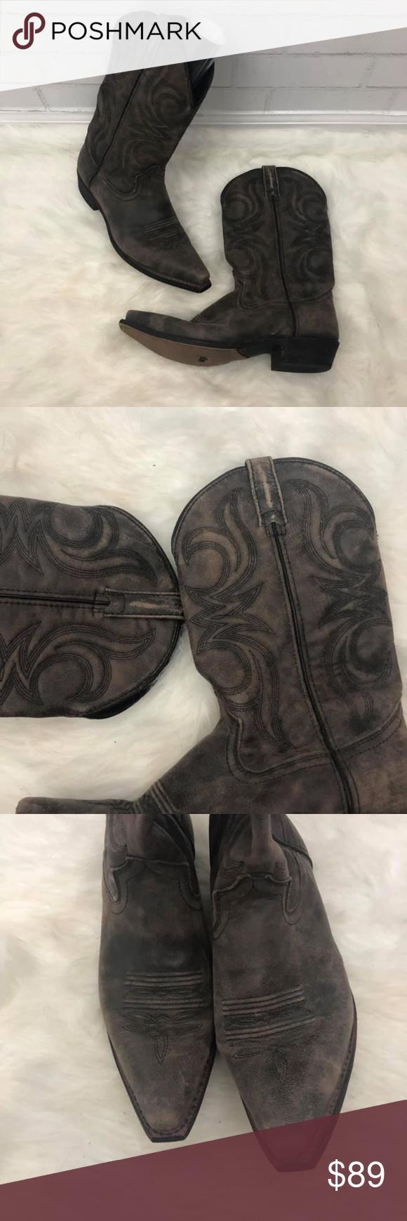 Men's Dingo Wyldwood Brown Leather Cowboy Boots Dark brown