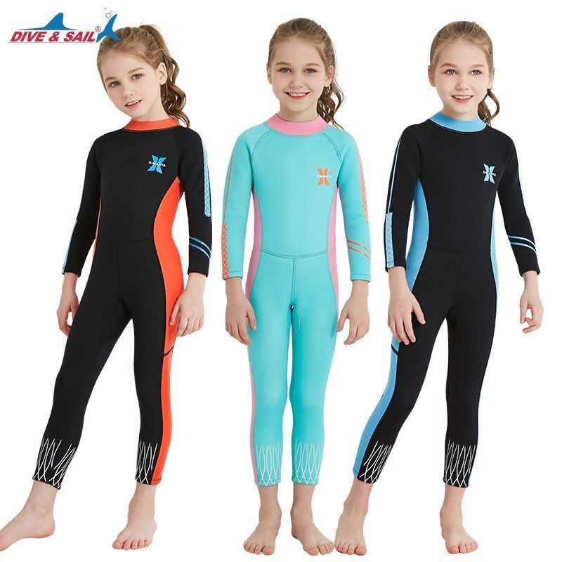 a5cd5cd970 eBay  Sponsored 2.5MM Neoprene Kids Wetsuit Long Sleeves Diving Suit One  Piece Surfing Swimsuit