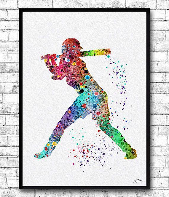 Special Offer Set of 3 Baseball Softball Watercolor Prints Softball ...
