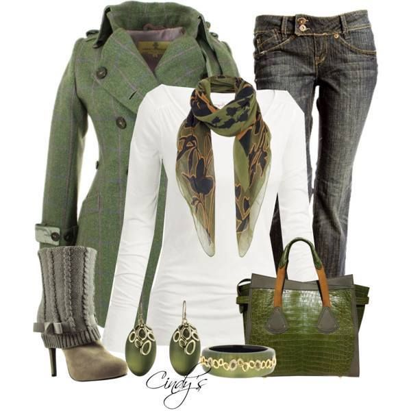 Dark greenish jacket, white shirt, jeans and high heel shoes for ladies
