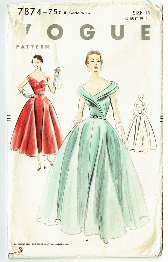 Vintage Sewing Pattern Vogue 9035 Dress Gown Wedding Prom 1950s 1950