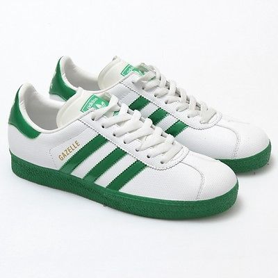Adidas Gazelle 2 Originals Leather Shoes New 561145 White Green - Women\u0027s 8