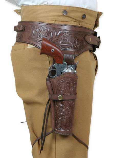 """8/"""" or 10/"""" Tooled Leather Western Cowboy Pistol Holster Black Brown Natural"""