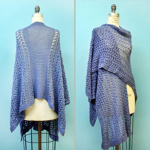 Ruana tejida Patrón - Free Knitting Pattern L20087 Knit Spring Ruana ...