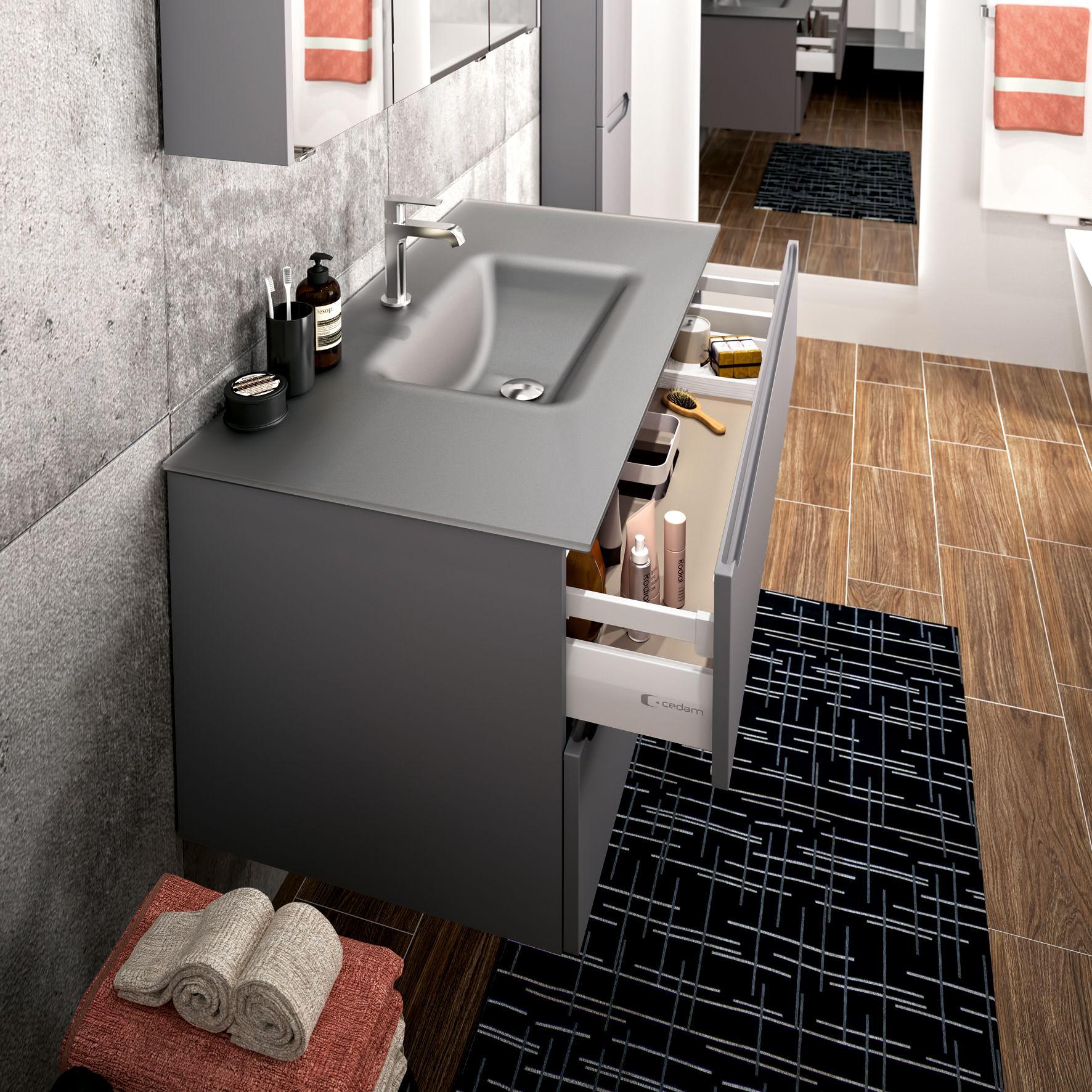 Plan Vasque En Verre Anthracite Sable Feeling Meubles De Salle De Bains Baignoires Fabric Idee Salle De Bain Meuble Salle De Bain Meuble De Salle De Bain