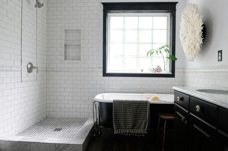 nice Idée décoration Salle de bain - salle de bain rétro en noir et