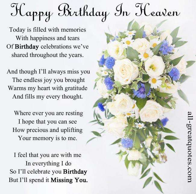 Happy Birthday In Heaven Today Is Filled With Memories Quotes