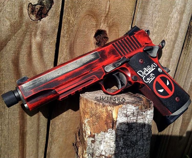 Deadpool 1911 cerakote paint job Super Badass now all I need is a ...