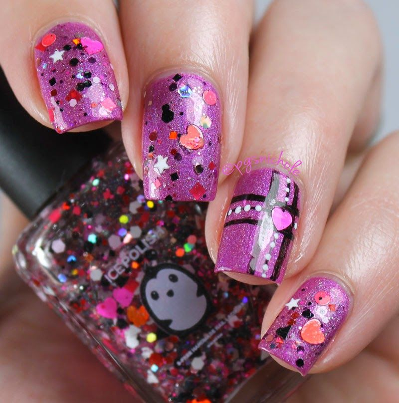 Science Nail Designs: Valentine's Day With Ice Polish