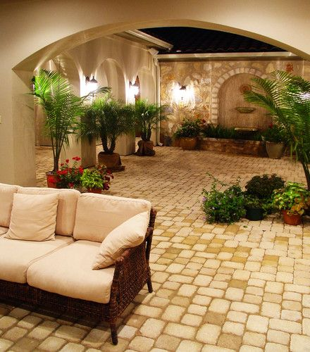 Hacienda courtyard at flintrock lakeway texas for Mediterranean courtyard designs