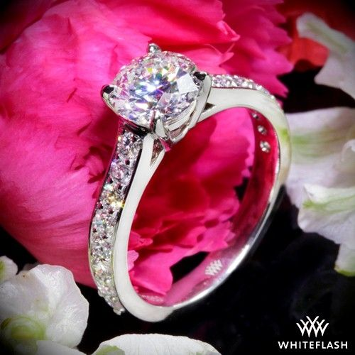 """Named after the exquisite flower of the south, the """"Magnolia"""" Diamond Engagement Ring is truly a splendid beauty.  Sparkles abound with the 16 A CUT ABOVE® Hearts and Arrows Diamond Melee (0.60ctw, F/G VS)."""