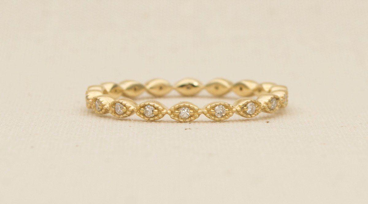 Diamond Full Eternity 14K Gold Wedding Band Ring Milgrain Edge