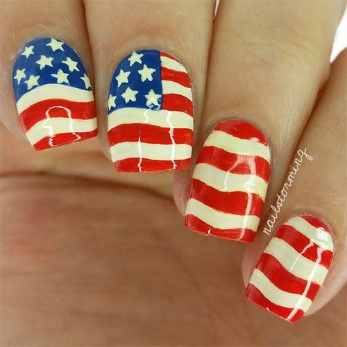 I have a collection of of July American flag nail art designs & ideas of  these Fourth of July nails are so pretty and will suit your nails. - 12-4th-of-July-American-Flag-Nail-Art-Designs-Ideas-2016-Fourth-of