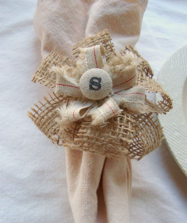 DIY Wedding Details: Monogrammed Burlap Napkin Rings - Elizabeth Anne Designs: The Wedding Blog
