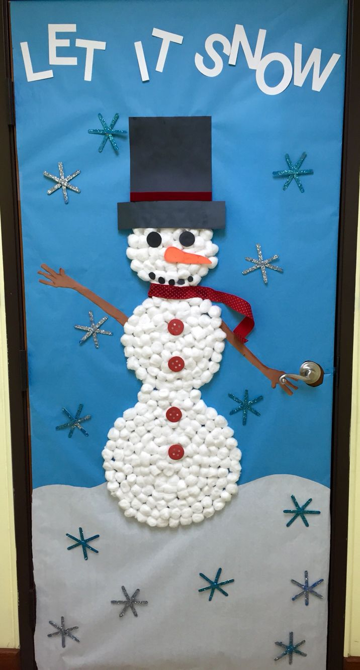 Let It Snow Cotton Balls Snowman And Snowflakes Preschool Classroom Door Snow Crafts Preschool Snowman Crafts Preschool Snow Crafts