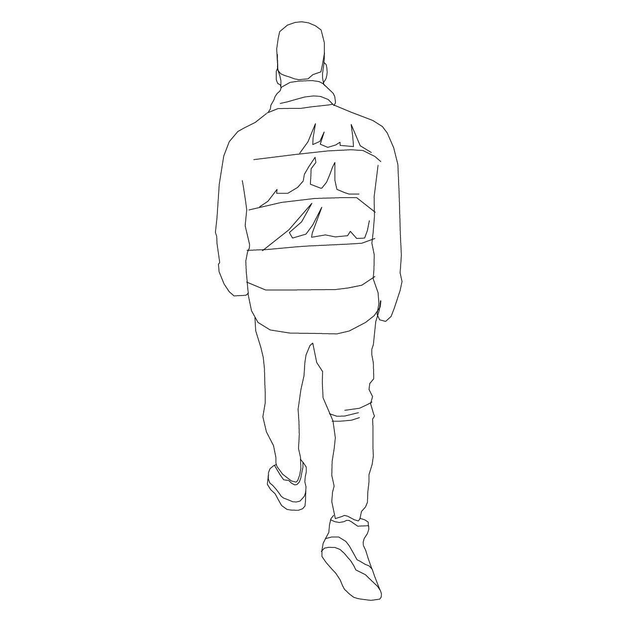 Walking Rear View Line Art Drawings Drawing People People Figures
