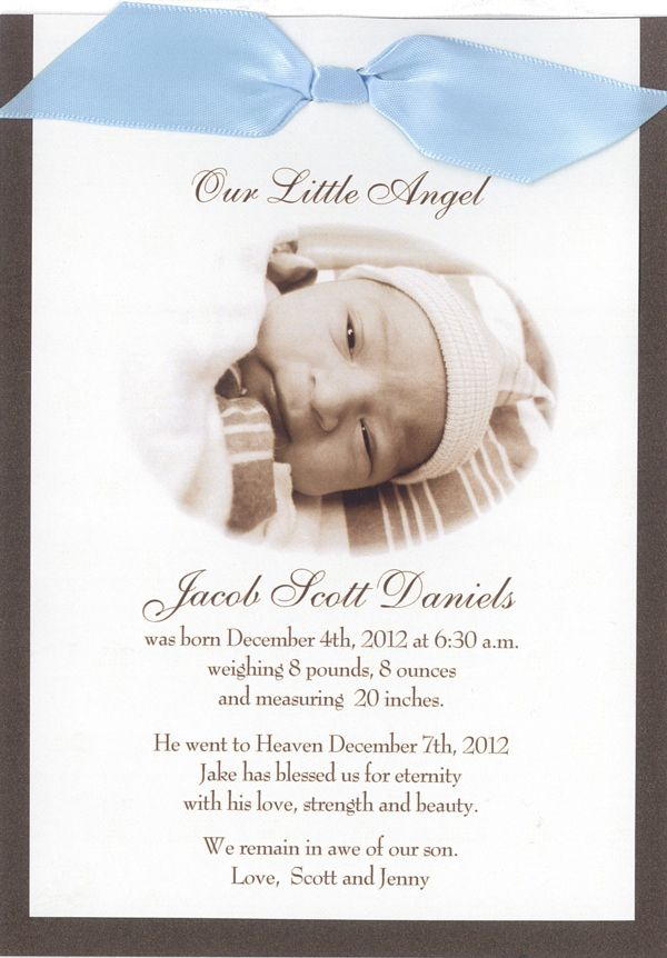 Our Little Angel memorial card Memorial cards and Infant loss - death announcement templates