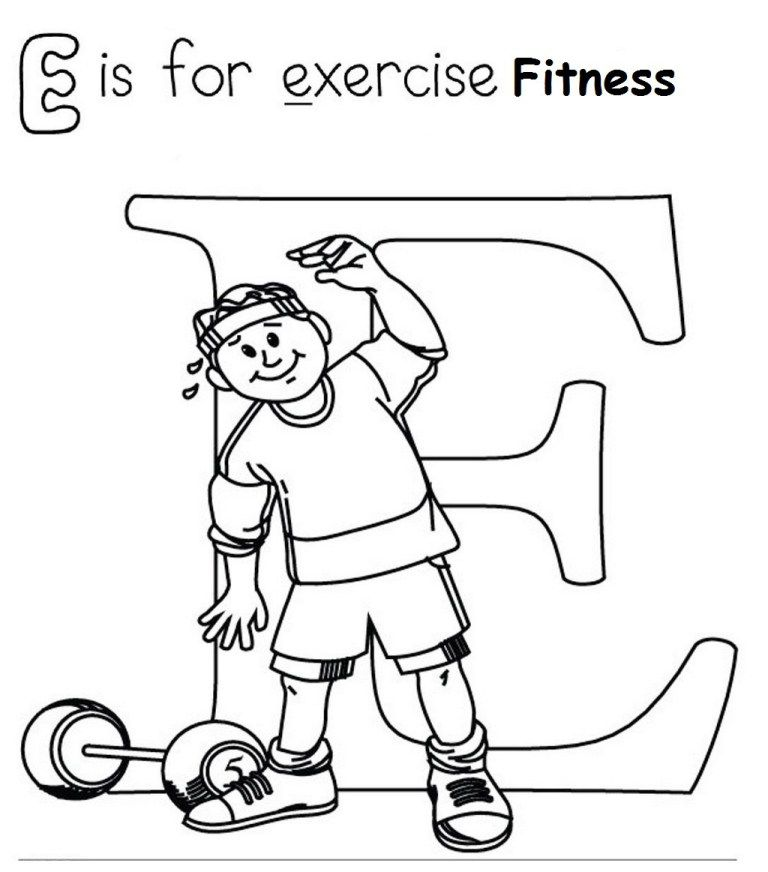 Fitness Dumbbell Exercise Coloring Page Sports Coloring Pages Coloring Pages For Kids Alphabet Coloring Pages