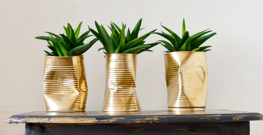 How To Make Gold Crushed Can Diy Planters Diy Cans Diy 400 x 300