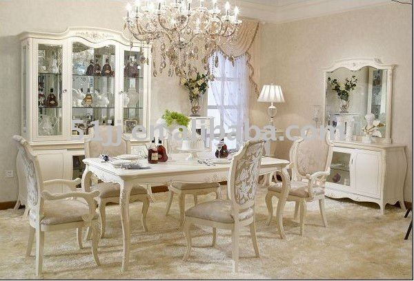 Antique French Provincial Off White Dining Room Set Furniture BJH 701