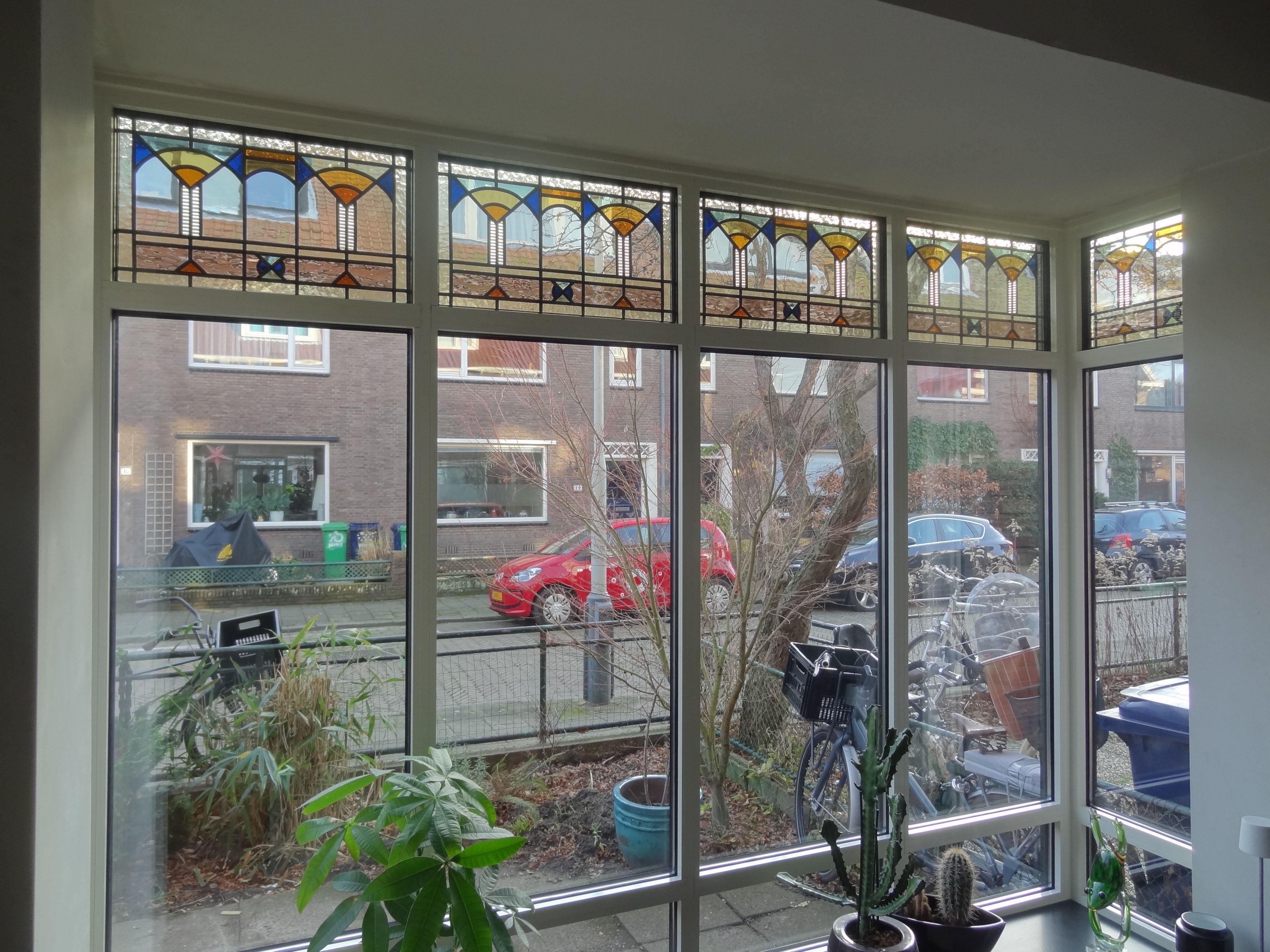 Art Deco Stijl : Stained glass windows glas in lood bovenlichten art deco stijl