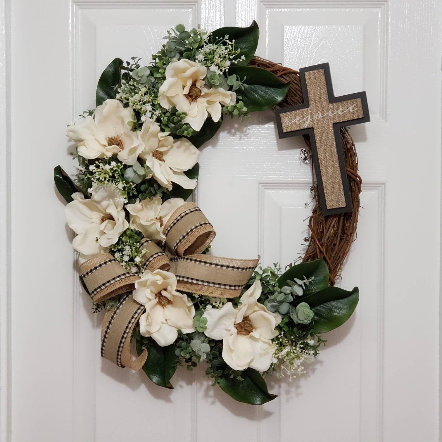 Photo of Easter wreath for front door, cross wreath, magnolia wreath, spring wreath for …