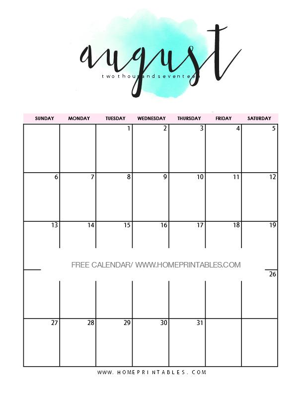 Free Printable August Calendar 2017: 9 Cool Designs | 2017 ...