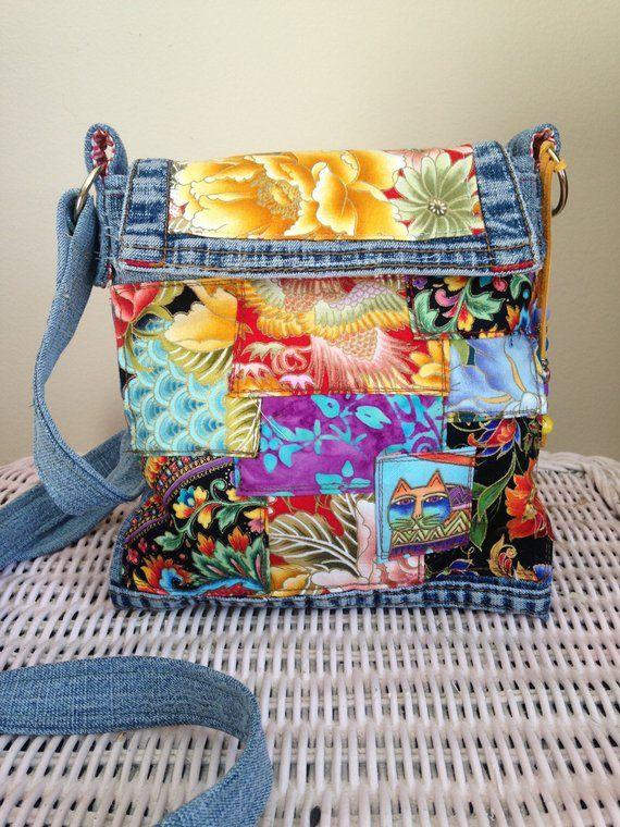 Denim Upcycled Handbag, Handmade Boho Handbag, Gypsy Handbag, Boho Denim Handbag