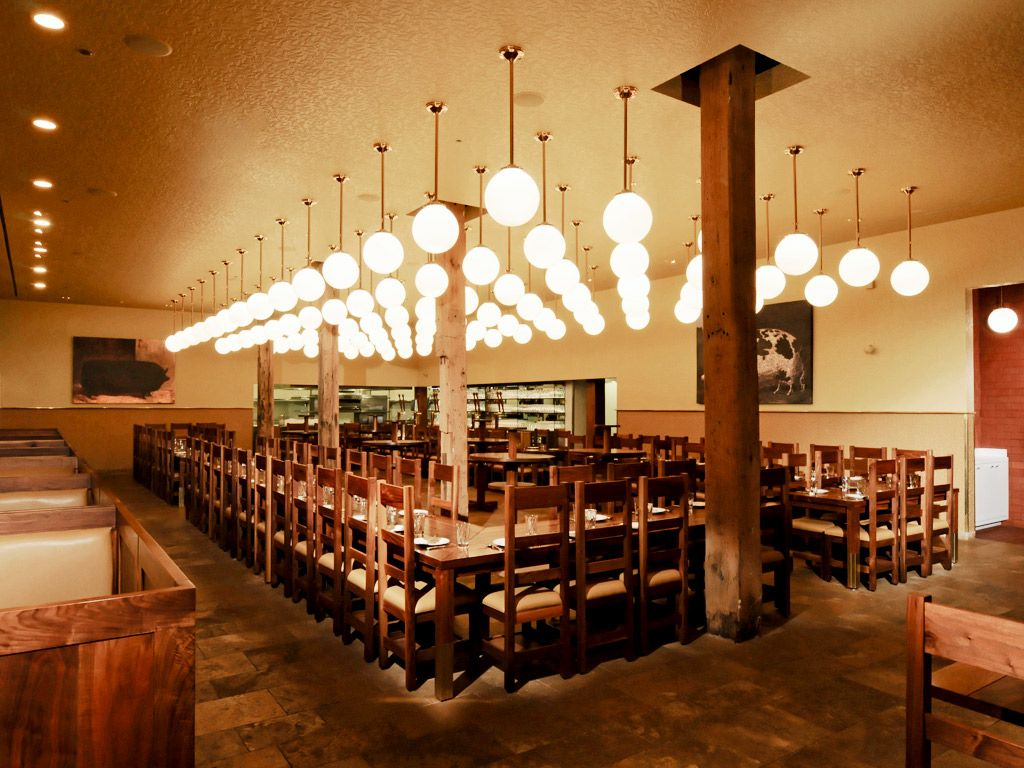 Modern lighting in restaurant