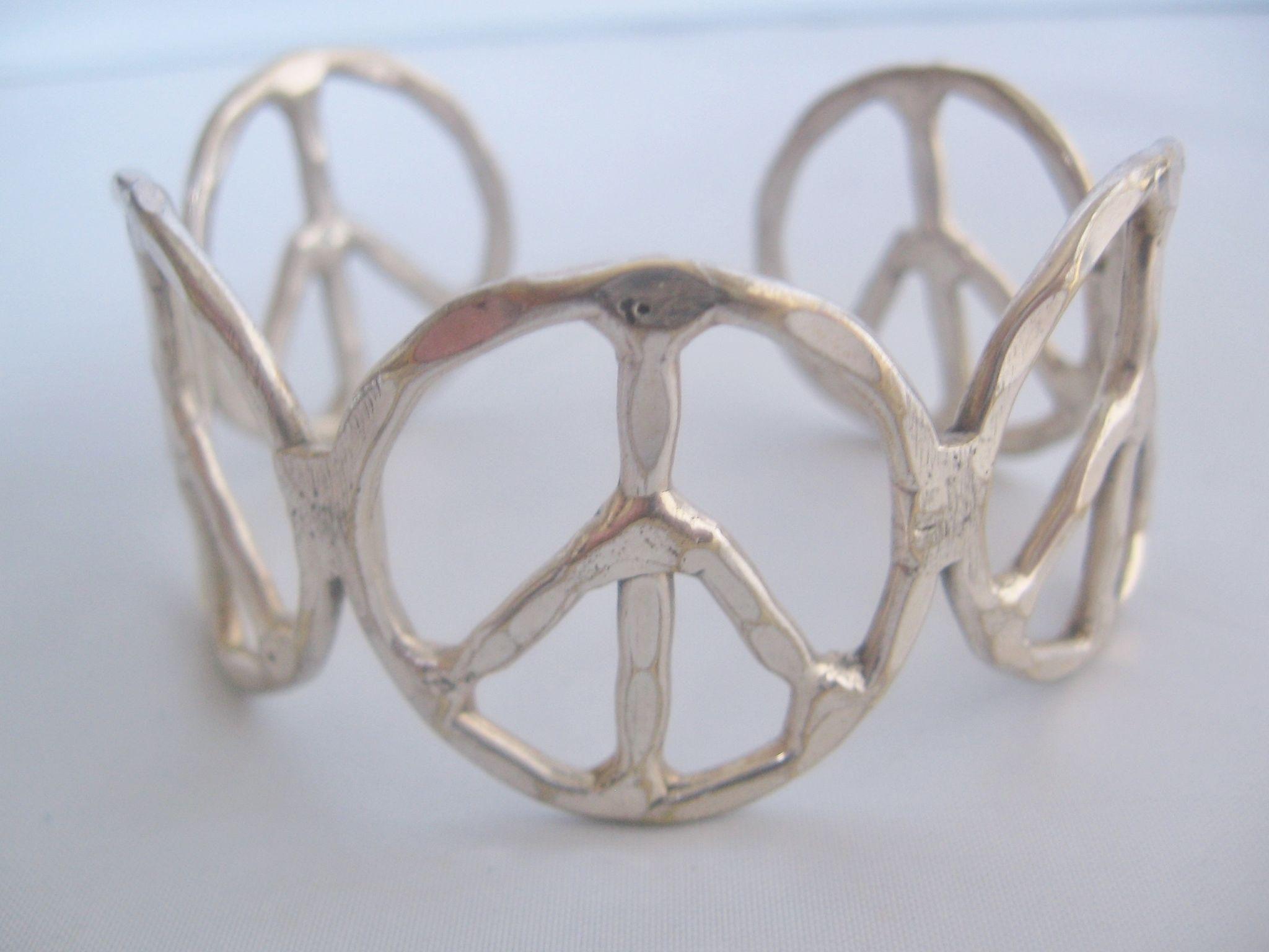 Vintage Silver tone Hammered Handmade Peace Cuff Bracelet