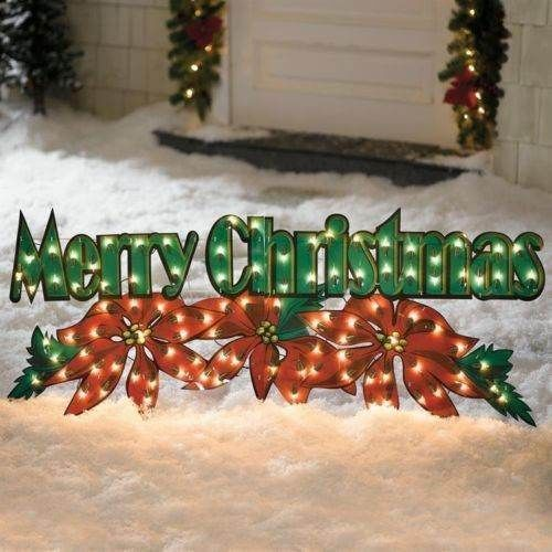 Pre Lit Lighted Merry Christmas Poinsettia Sign Display Outdoor Holiday Decor 20 X 52 72 Christmas Display Christmas Signs Merry Christmas Sign