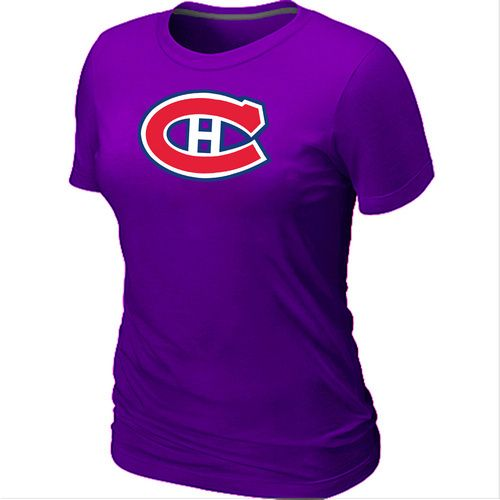 NHL Montreal Canadiens Big & Tall Women's Logo T-Shirt - Purple