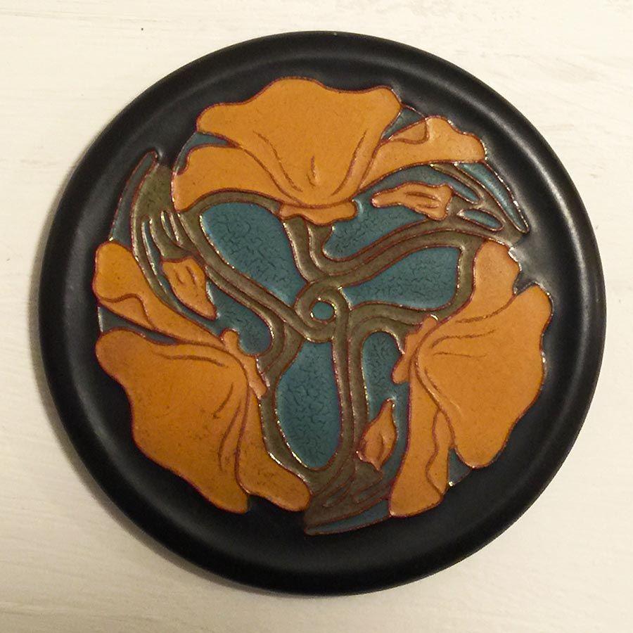 Art Nouveau Inspired California Poppy By Mason Larose: California Faience Poppy Tile With Original Label