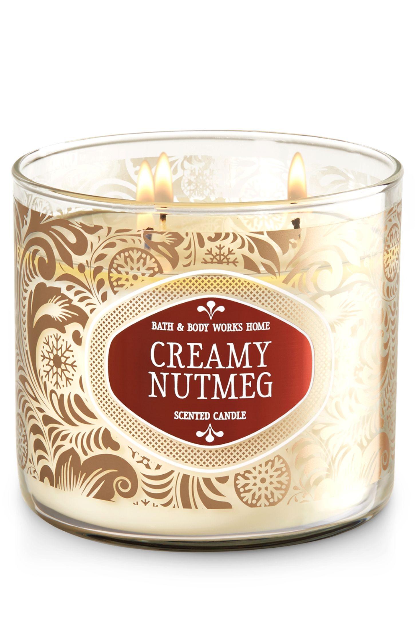 Bath Body Works Candle CREAMY NUTMEG Scented 3-wick Jars x2 Wax
