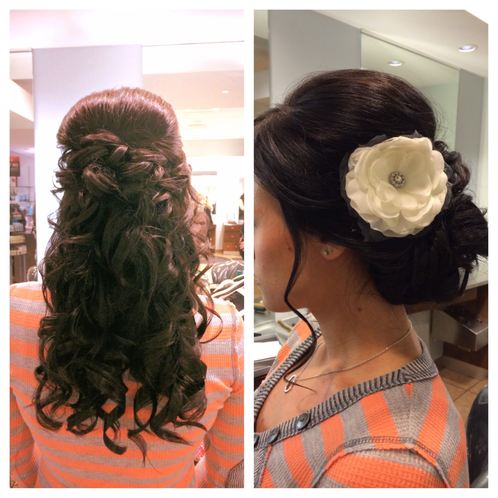 wedding hair down with veil for the ceremony up with