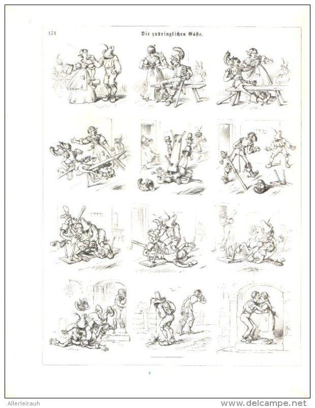 Die zudringlichen Gäste / Cartoon, entnommen aus Zeitschrift  /Datum unbekannt, Vermutl Anfang 20.Jh