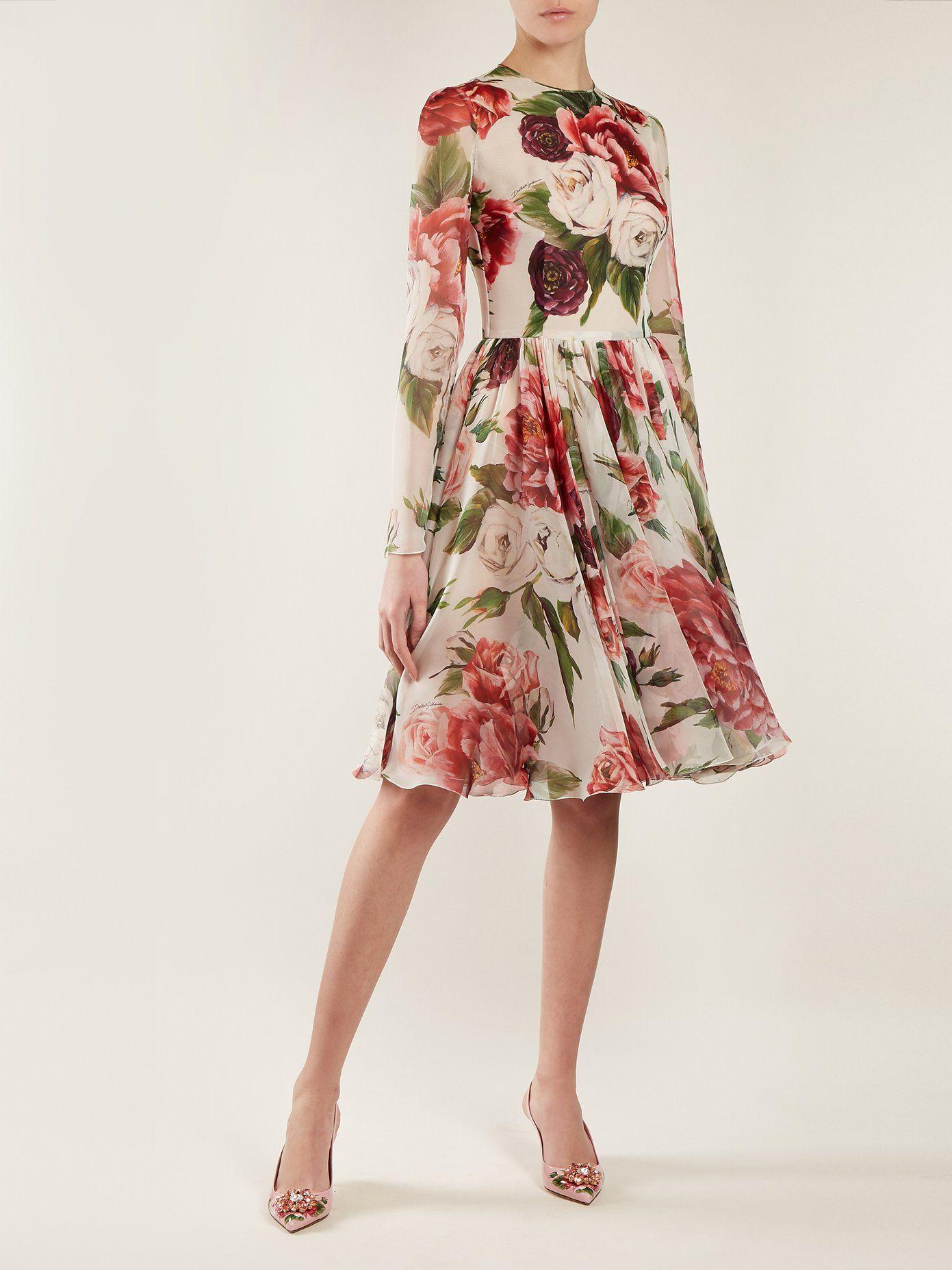 02fdf321f9a Peony and rose-print chiffon mini dress